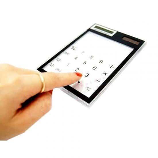 Прозрачный калькулятор с солнечной батареей
