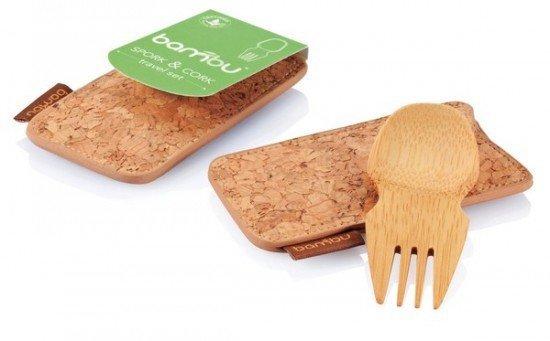 Походный бамбуковый столовый прибор в пробковом чехле
