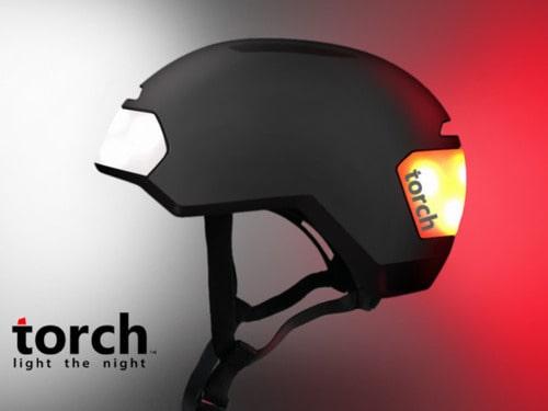 Велосипедный шлем с интегрированными фонарями Torch