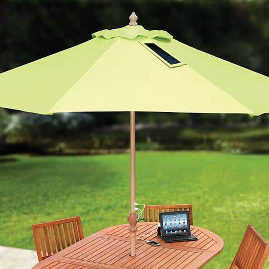 Market umbrella with solar panels