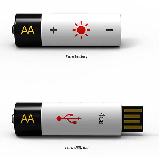 Rechargeable AA Battery USB Drive