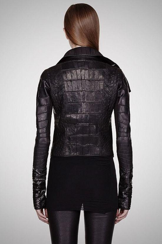 Black Alligator & Python Leather Hun Biker Jacket by Rick Owens