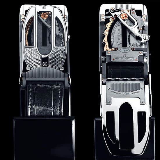 The Calibre R22 Mechanical Belt Buckle by Bugatti x Roland Iten