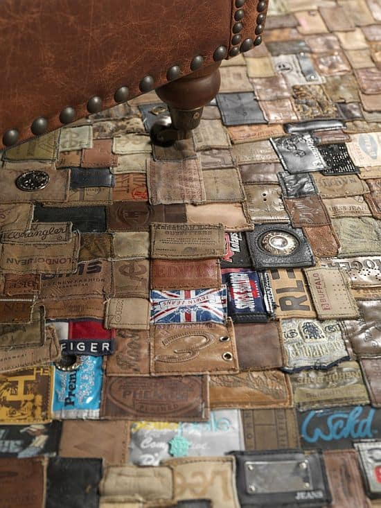 Rug Made From Old Jean Labels