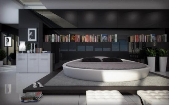 Opus Modern Round Leather Bed