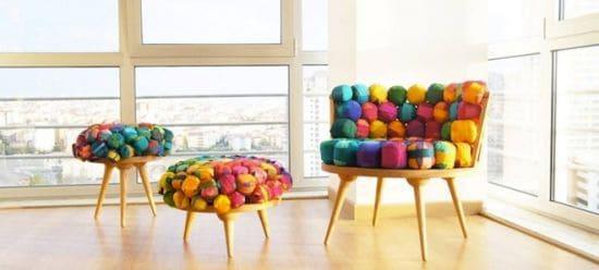 Recycled Silk Chair & Ottoman