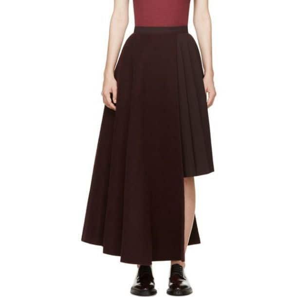 Двухслойная шерстяная юбка Burgundy от Янга Ли