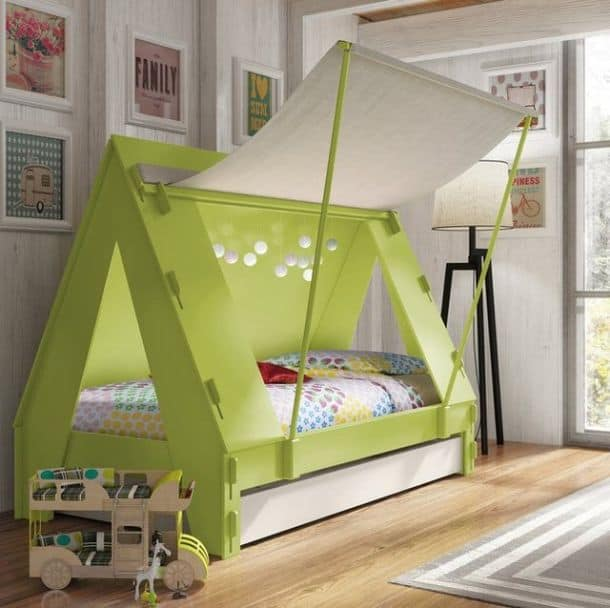 Amazoncom Donco Kids Twin Loft Tent Bed with Slide