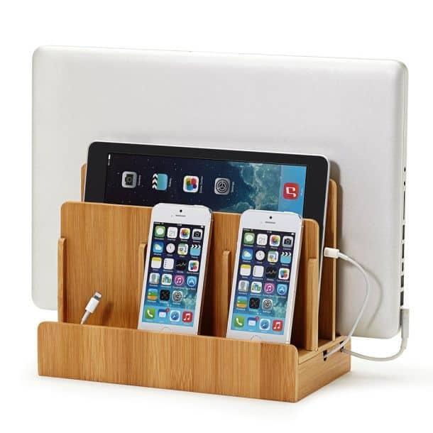 Бамбуковая подставка-органайзер для зарядки мобильных устройств