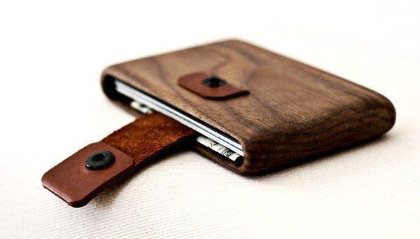 Деревянный бумажник с ремешком из кожи Haydanhuya на Goodsi.ru