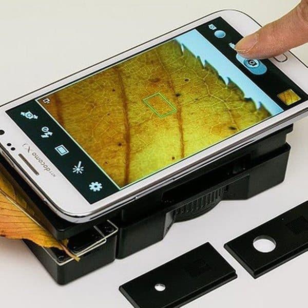 Универсальная подставка-микроскоп для смартфонов