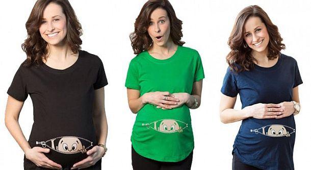 Забавная футболка для беременных «Выглядывающий малыш»