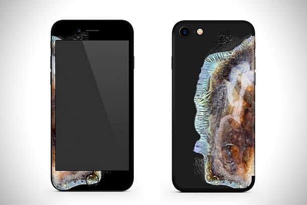 Самоклеящаяся оболочка для айфона в виде взрывающегося смартфона Galaxy Note 7s