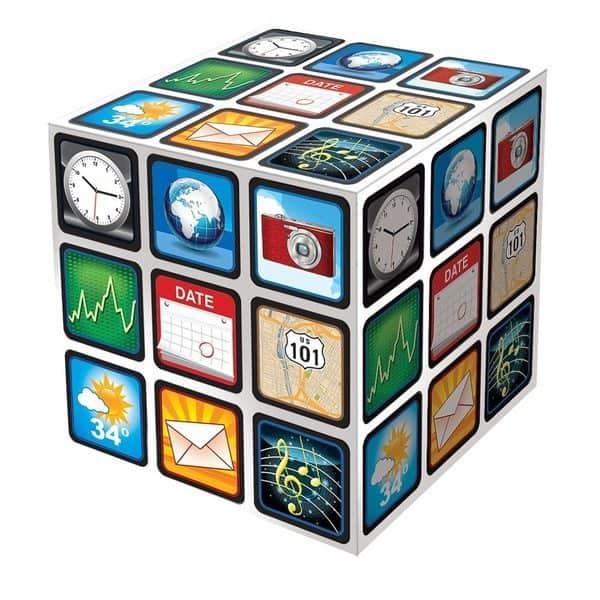 Кубик Рубика с иконками мобильных приложений