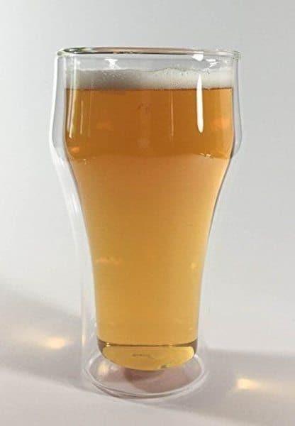 Стеклянный пивной стакан с двойными стенками