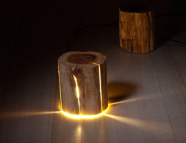 Напольный светильник-пень Cracked Log Lamp