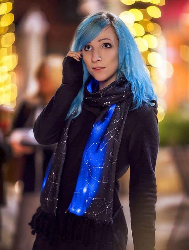 Светодиодный шарф с изображением звездного неба Illumiscarf