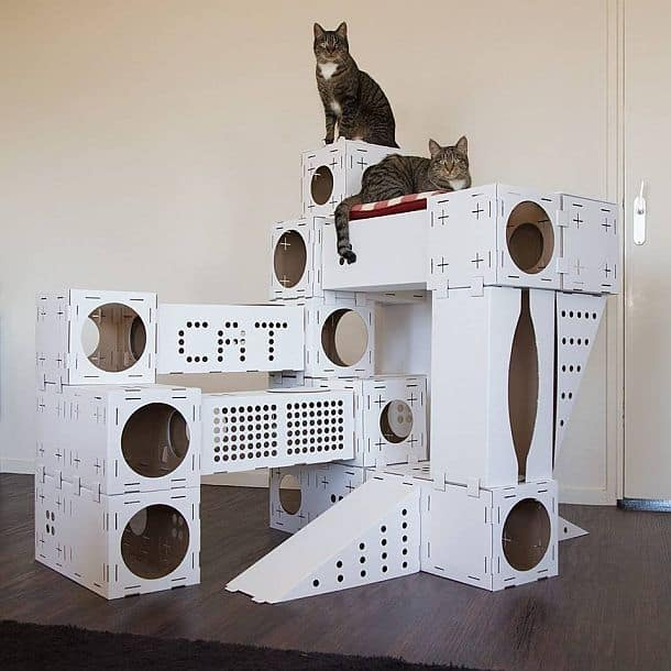 Модульный кошачий игровой домик из картона