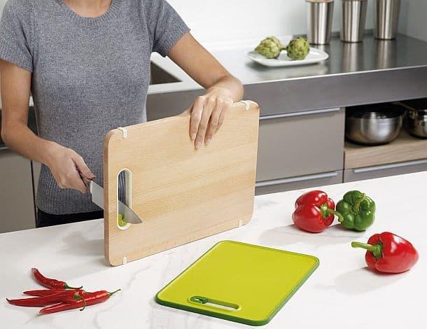 Деревянная кухонная доска с точилкой Slice&Sharpen