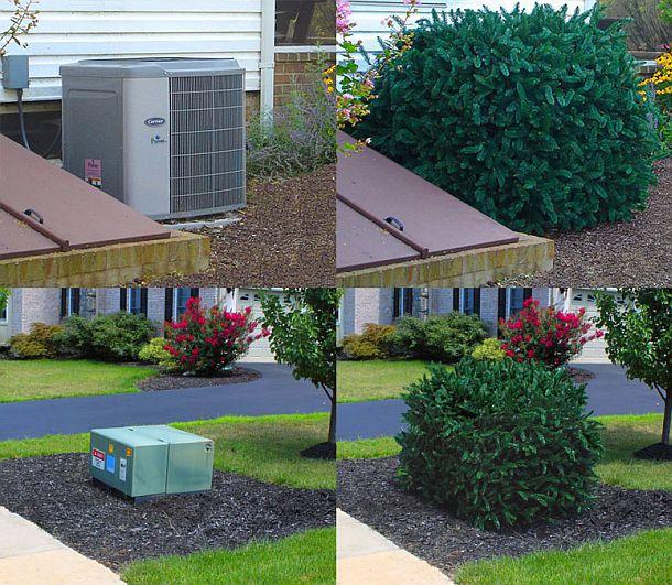 Конструкция с искусственными растениями для маскировки внешних технических устройств TRiCC utility cover