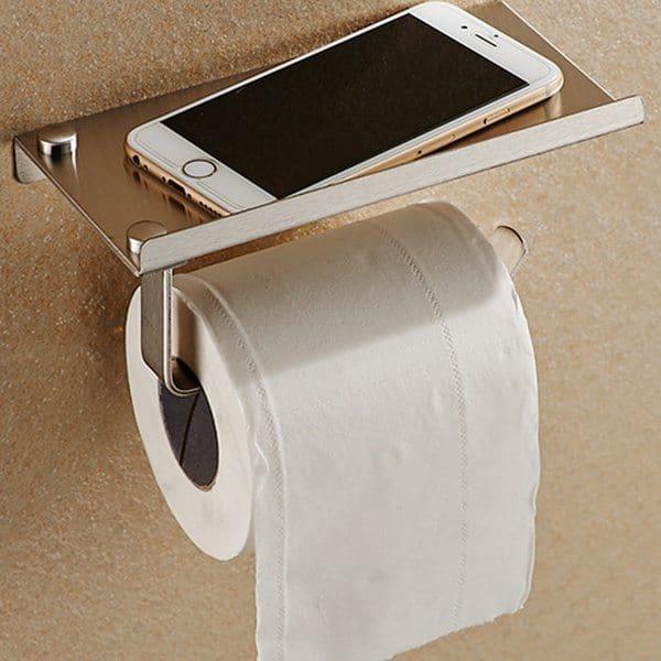 Держатель для туалетной бумаги с полочкой под телефон