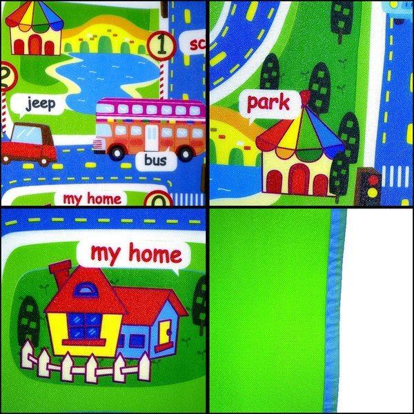 Детский игровой коврик с нарисованным городом