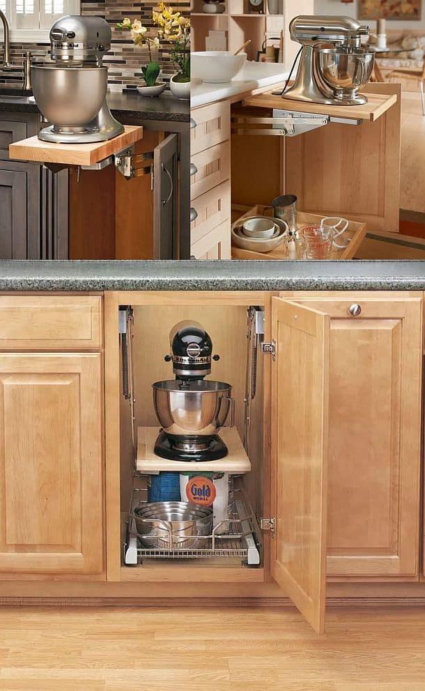 Выдвижная система поворотных кронштейнов для тяжелого и крупногабаритного кухонного оборудования Rev-A-Shelf