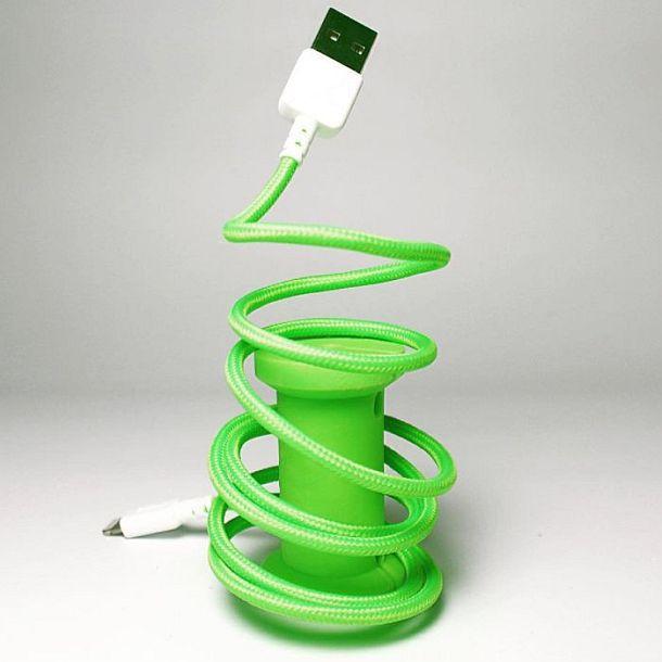 Светящийся Lightning-USB кабель с катушкой Neon