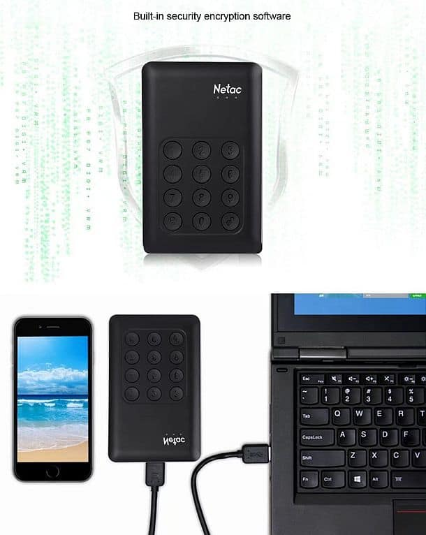 Внешний USB 3.0 накопитель Netac K390 с функцией блокировки информации