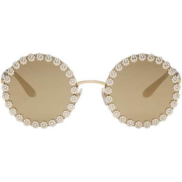 Солнцезащитные очки со стразами Gold Studded Daisy от Dolce and Gabbana