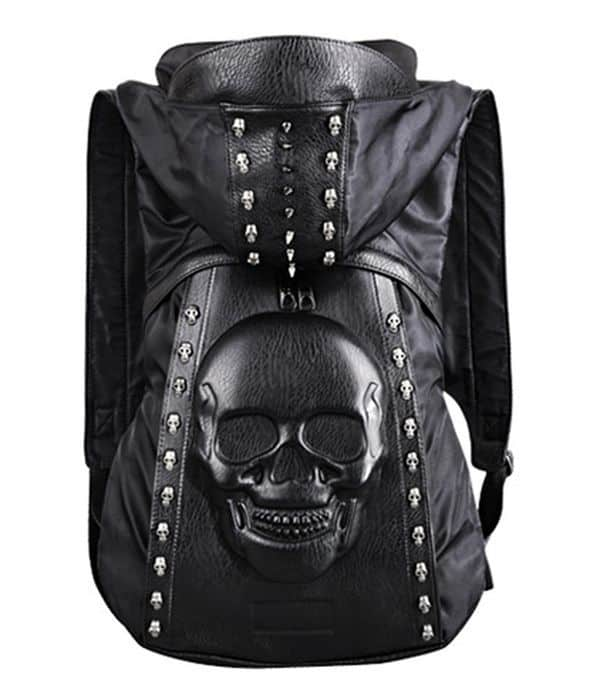 Байкерский рюкзак с капюшоном и изображением черепа