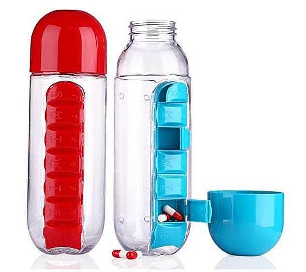 Бутылка для воды со встроенным контейнером для таблеток