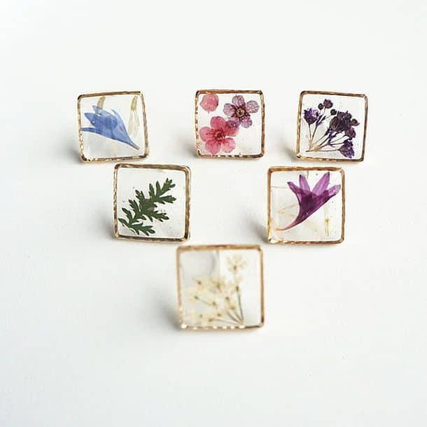 Женские сережки с живыми цветами Picture Frame Earring