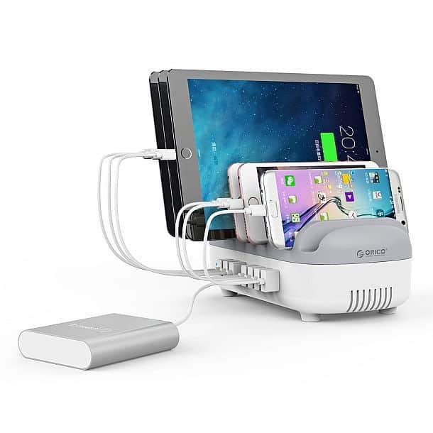 Зарядная станция Orico DUK-10 с 10 портами USB и держателями для телефонов