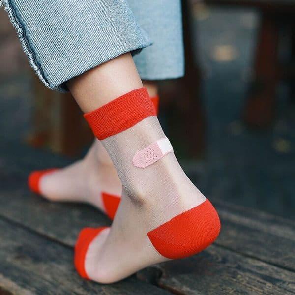 Прозрачные носки с защитой лодыжки от натирания