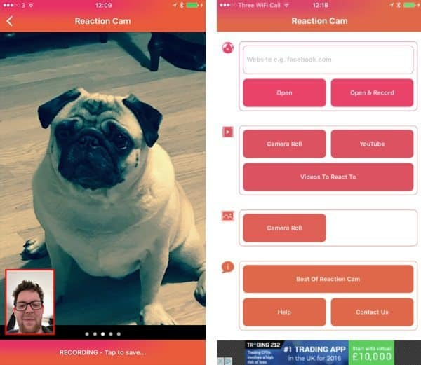 Reaction Cam — приложение для обмена эмоциональными реакциями