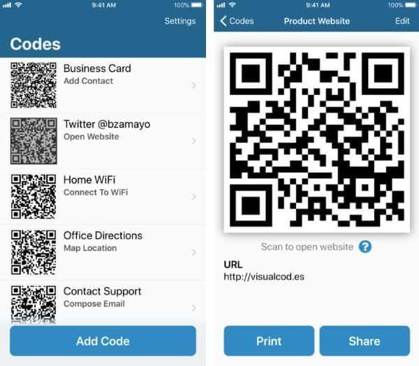 Visual Codes — приложение для управления QR-кодами