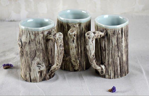 Керамические кружки, выполненные под дерево
