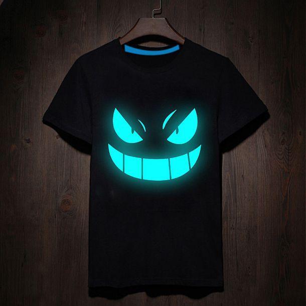 Футболка со зловещим флуоресцентным принтом «Дьявольская улыбка»