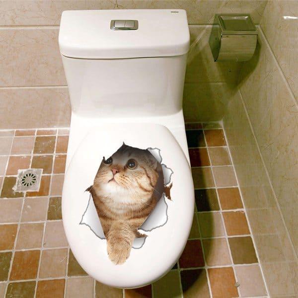 3D-наклейки с котятами для украшения туалета