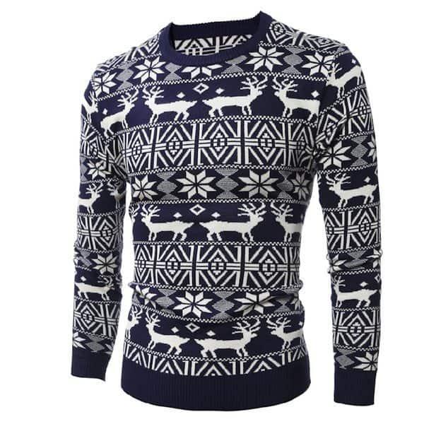 Зимний мужской свитер с оленями