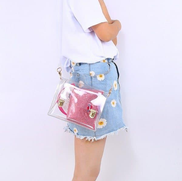 Прозрачная женская сумочка для пляжа