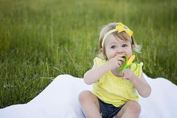 Зубная щетка и прорезыватель для детских зубов в виде початка кукурузы