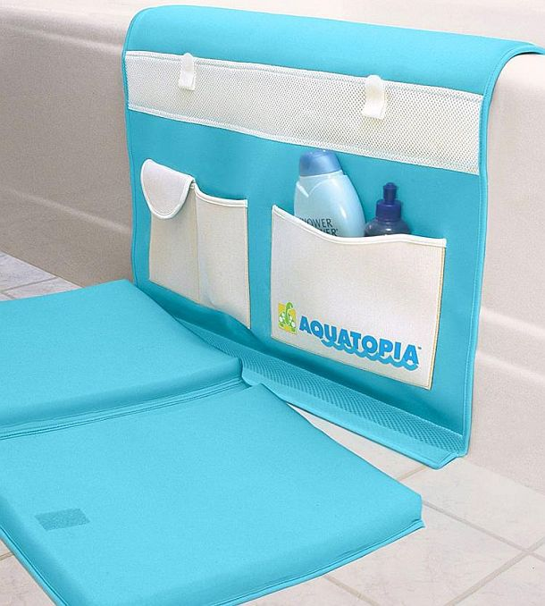 Подстилка-подколенник с органайзером для купания детей ванной ванной Aquatopia Deluxe