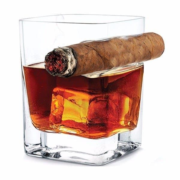 Стакан для виски с полочкой для сигары