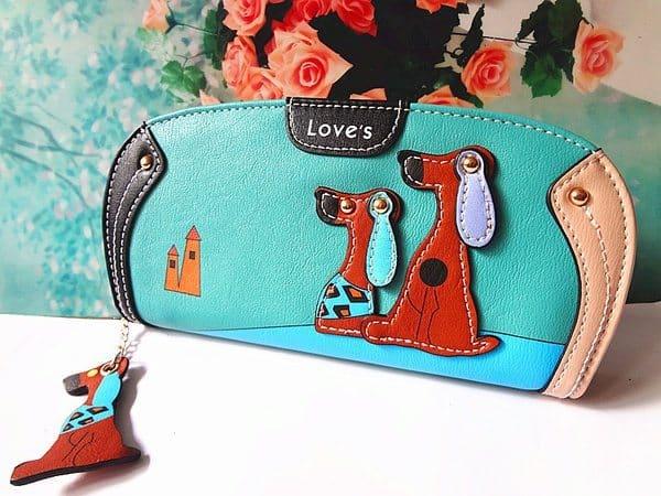 Большой женский кошелёк с украшением в виде собак