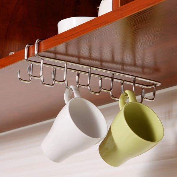Подвесная полочка с крючками для хранения кружек