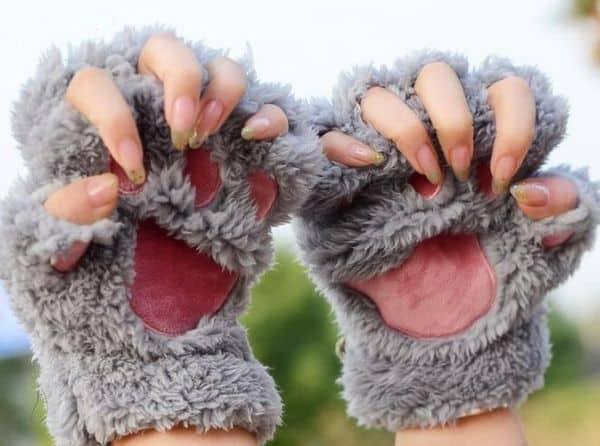 Тёплые полуперчатки в виде кошачьих лапок