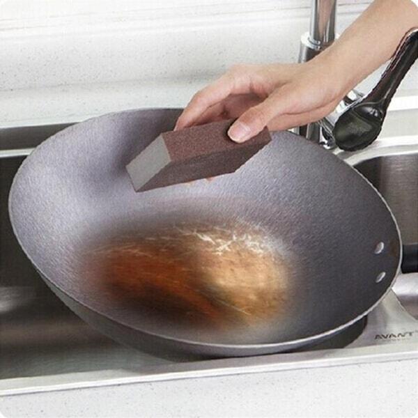 """Кухонная губка с """"наждачным"""" напылением Сarborundum"""
