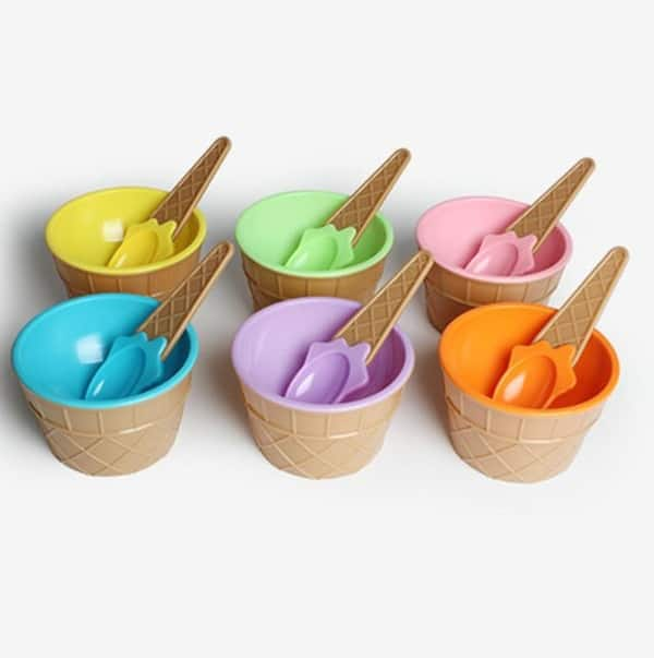 Детские миски в виде вафельных стаканчиков мороженого